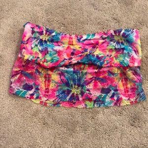 Bright neon floral lace bandeau bralette VS PINK
